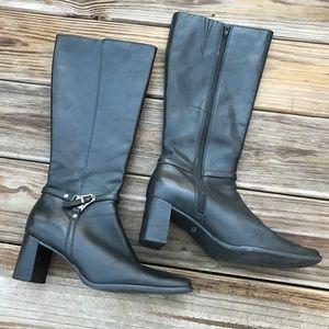 Caressa Women Heeled Boots Black Leather Upper Sho
